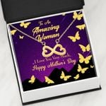 Love You Very Much Infinity Heart Necklace Gift For Mom Gold Butterflies