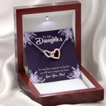 Never Outgrow Dad's Heart Interlocking Hearts Necklace Gift For Daughter