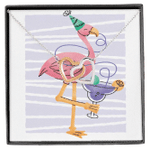 Party Flamingo Birthday Gift For Daughter Interlocking Hearts Necklace