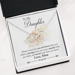 Interlocking Hearts Necklace Mom Gift For Daughter You're Braver