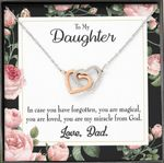 You Are My Miracle From God Gift For Daughter Interlocking Hearts Necklace With Mahogany Style Gift Box