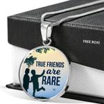 True Friends Are Rare Circle Pendant Necklace Gift For Friend