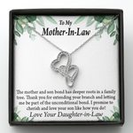 Message Card Double Hearts Necklace Daughter Gift For Mother In Law Thank You