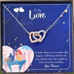 No Matter Where We Are Interlocking Hearts Necklace Gift For Lovers