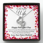 Want To Be Your Last Everything Gift For Future Wife Double Hearts Necklace With Mahogany Style Gift Box