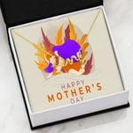 Purple Gold Happy Mother's Day Scripted Love Necklace Gift For Mama