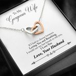 Loving You And Breathing Interlocking Hearts Necklace Gift For Wife