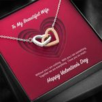 Interlocking Hearts Necklace Gift For Wife Without You