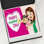 Pink Background Happy Mother's Day Infinity Heart Necklace Gift For Women