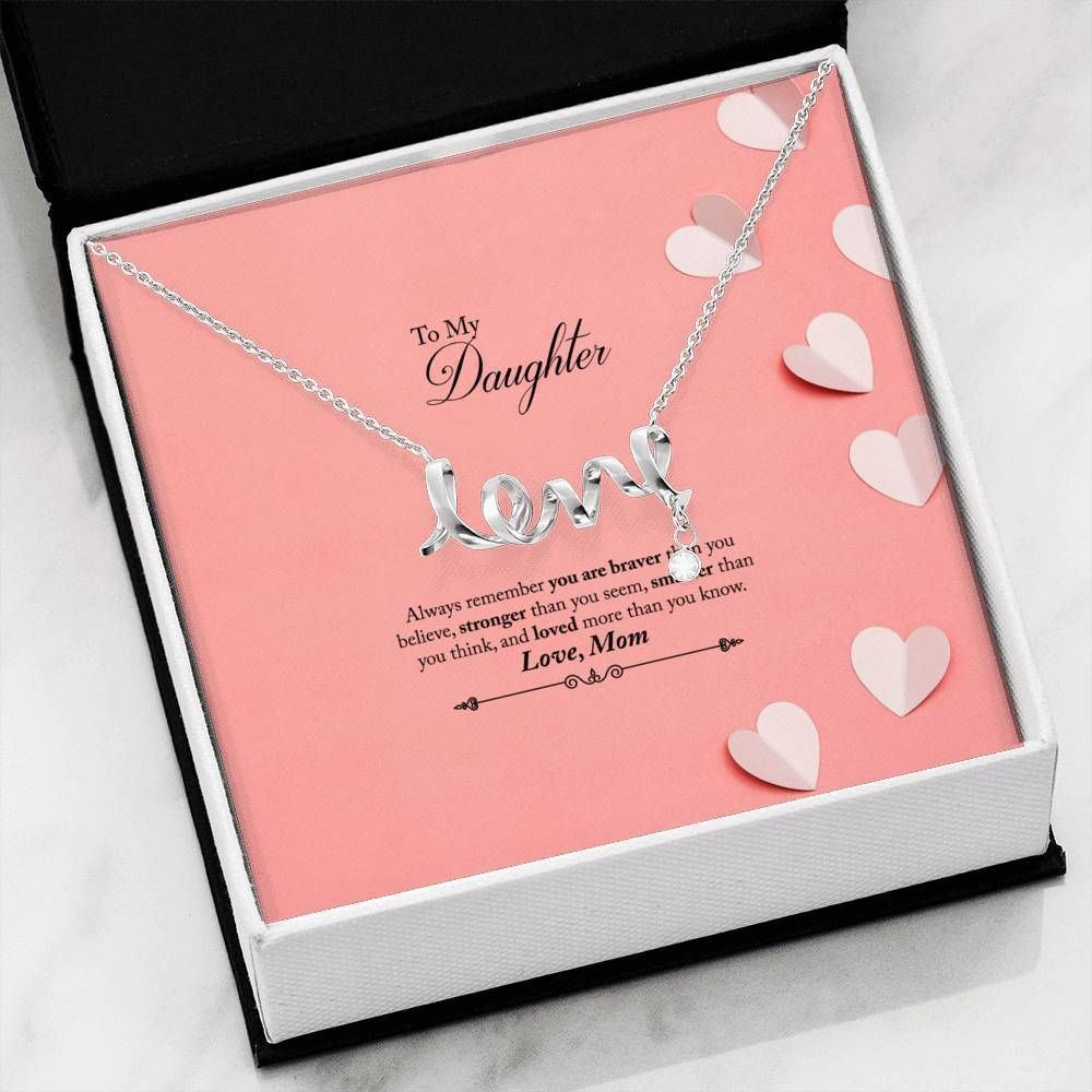 Loved More Than You Know Gift For Daughter Scripted Love Necklace