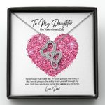 Pink Sparkling Heart Dad Gift For Daughter How Special You Are To Me Double Hearts Necklace
