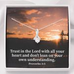 Trust In The Lord With Heart Inspirational Message Gift Alluring Beauty Necklace
