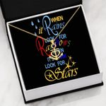 When It Rains Look For Rainbow Message Card Anchor Necklace Gift For Women
