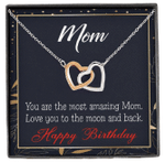 Love You To The Moon Interlocking Hearts Necklace Gift For Mom
