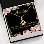 The Best Auntie In The World Belongs To Me Gift For Auntie 18K Gold Anchor Necklace