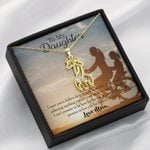 To My Daughter Believe Deep In Your Heart Giraffe Couple Necklace
