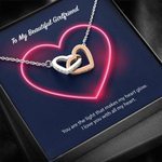 Interlocking Hearts Necklace Gift For Love Neon Heart Love You
