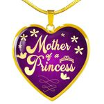 Mother Of A Princess Gift For Mom Heart Pendant Necklace