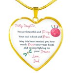 You Are Beautiful And Strong Gift For Daughter Heart Pendant Necklace