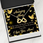 Infinity Heart Necklace Gift For Mom Gold Butterflies Thank You