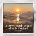 Let Not Your Heart Be Troubled Inspirational Message Alluring Beauty Necklace