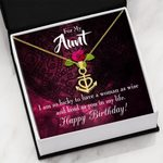 So Lucky To Have A Woman As Wise Gift For Aunt 18K Gold Anchor Necklace
