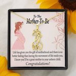 To The Mother To Be The Best Feeling Giraffe Couple Necklace