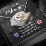 Interlocking Hearts Necklace Gift For Valentine So Lucky With You