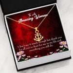 To Amazing Woman Thank You For All Anchor Necklace