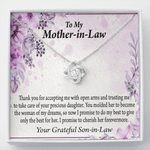 Thank You For Your Trust From Groom Gift For Mother In Law Love Knot Necklace