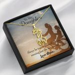 To My Daughter Be True To Yourself Giraffe Couple Necklace