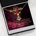 The Most Wonderful Person Message Card Anchor Necklace Gift For Mom