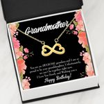 Wishing You A Happy Birthday Gift For Grandmother 18K Gold Infinity Heart Necklace