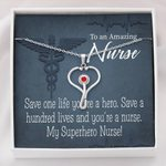 Stethoscope Necklace Gift For Nurse Save On Life You're A Hero
