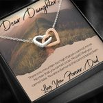 Interlocking Hearts Necklace Dad Gift For Daughter There Is No Mountain Too High