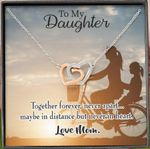 Together Forever Never Apart Gift For Daughter Interlocking Hearts Necklace With Mahogany Style Gift Box