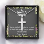 You Have A Wonderful Family Gift For Niece And Family Artisan Crafted Cross Necklace