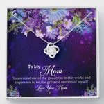 Love You Mom Purple Galaxy Gift For Mom Love Knot Necklace