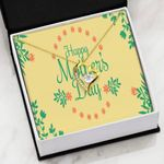 Yellow Floral Card Happy Mother's Day Gift For Mom Forever Love Necklace