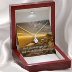 The Lord Shall Fight For You Inspirational Message Alluring Beauty Necklace
