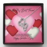 Thanks For Always Being There Gift For BFF Double Hearts Necklace With Mahogany Style Gift Box