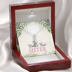World's Best Sister Gift For Sister 14k White Gold Alluring Beauty Necklace With Mahogany Style Gift Box