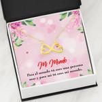 Mi Mundo Light Pink Background Infinity Heart Necklace Gift For Women