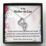 Promise To Dedicate The Rest Of My Life With Her Gift For Mother In Law Double Hearts Necklace
