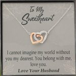 You Belong With Me Gift For Lover Interlocking Hearts Necklace With Mahogany Style Gift Box