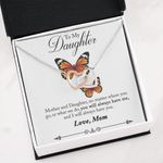 Interlocking Hearts Necklace Mom Gift For Daughter Butterflies Always Have Me