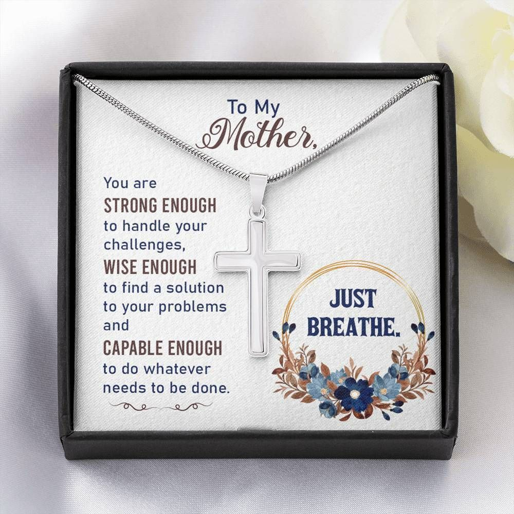 Just Breathe Gift For Mom Cross Necklace