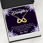 Never Forget Your Way Back Home 18K Gold Infinity Heart Necklace Gift For Daughter