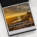 The Lord Shall Fight For You Hold Your Peace Anchor Necklace