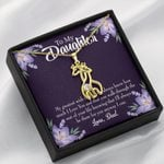 To My Daughter From Dad Be There For You Giraffe Couple Necklace
